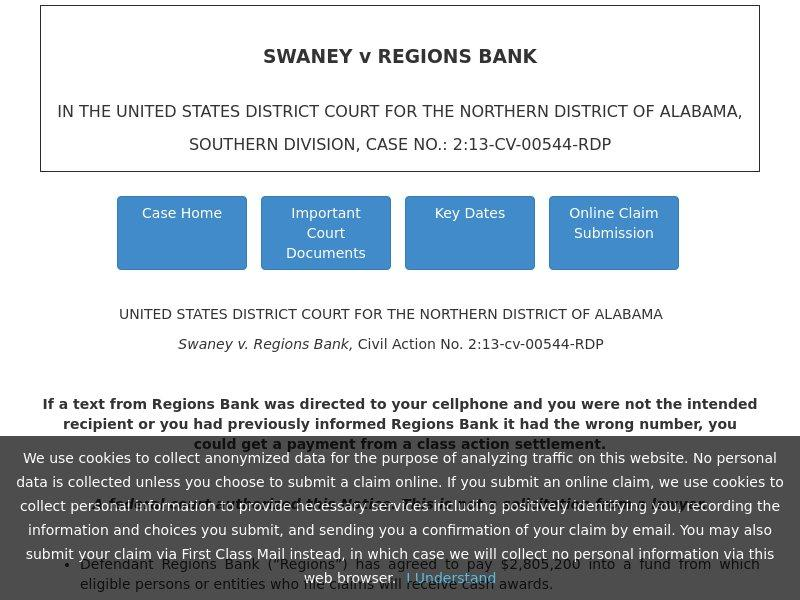 The case is referred to on the page as the 'Swaney v. Regions Bank, Civil Action No. 2:13-cv-00544-RDP'